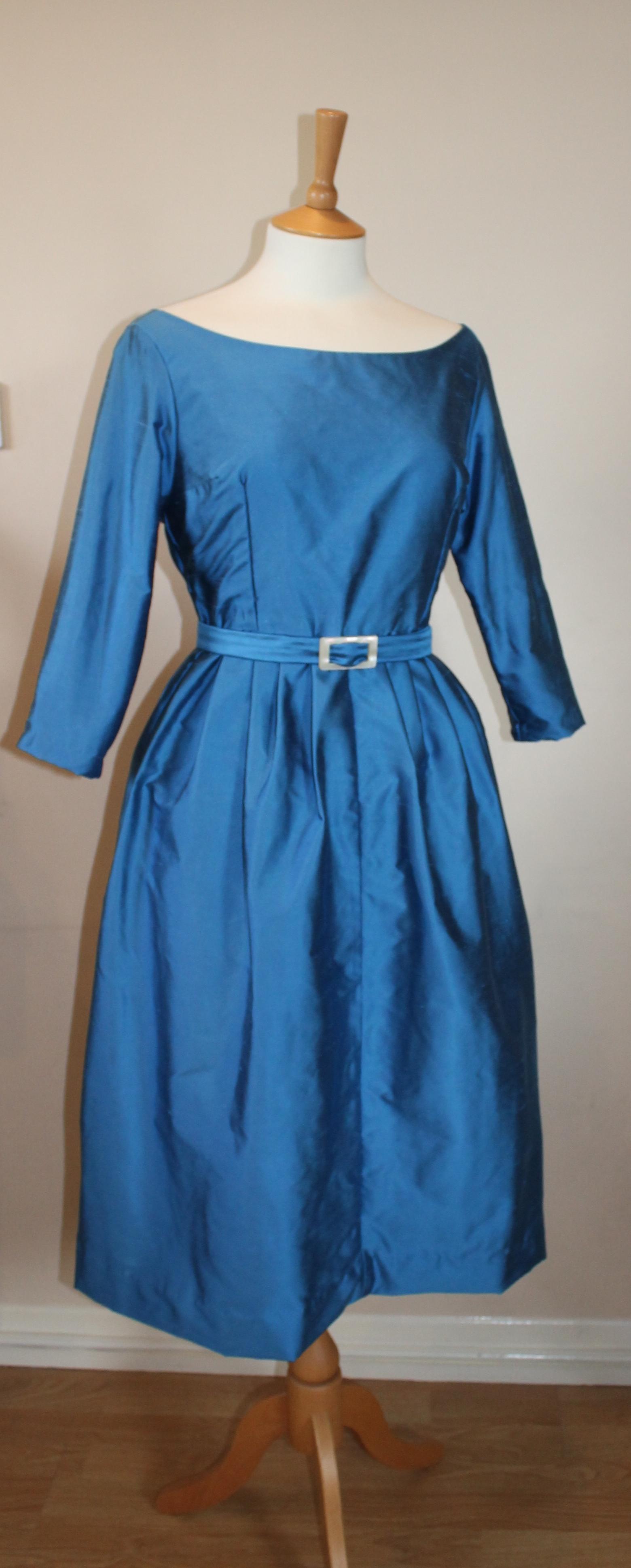 early 60s style kingfisher blue taffeta cocktail dress