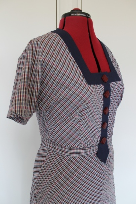 Early 1930s style seersucker cotton dress