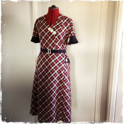 Early 1930s style plaid dress