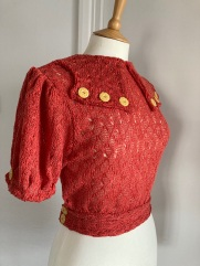 Mid-1930s inspired crochet knit fabric blouse