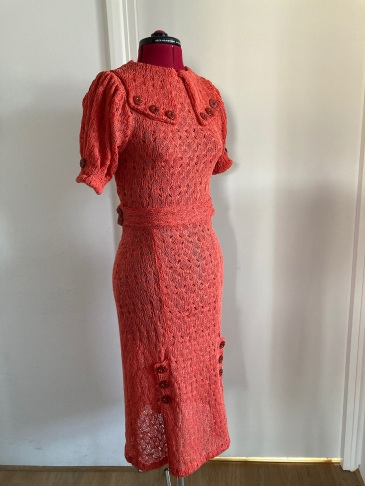 Early-mid 1930s style crochet knit jumper&skirt set