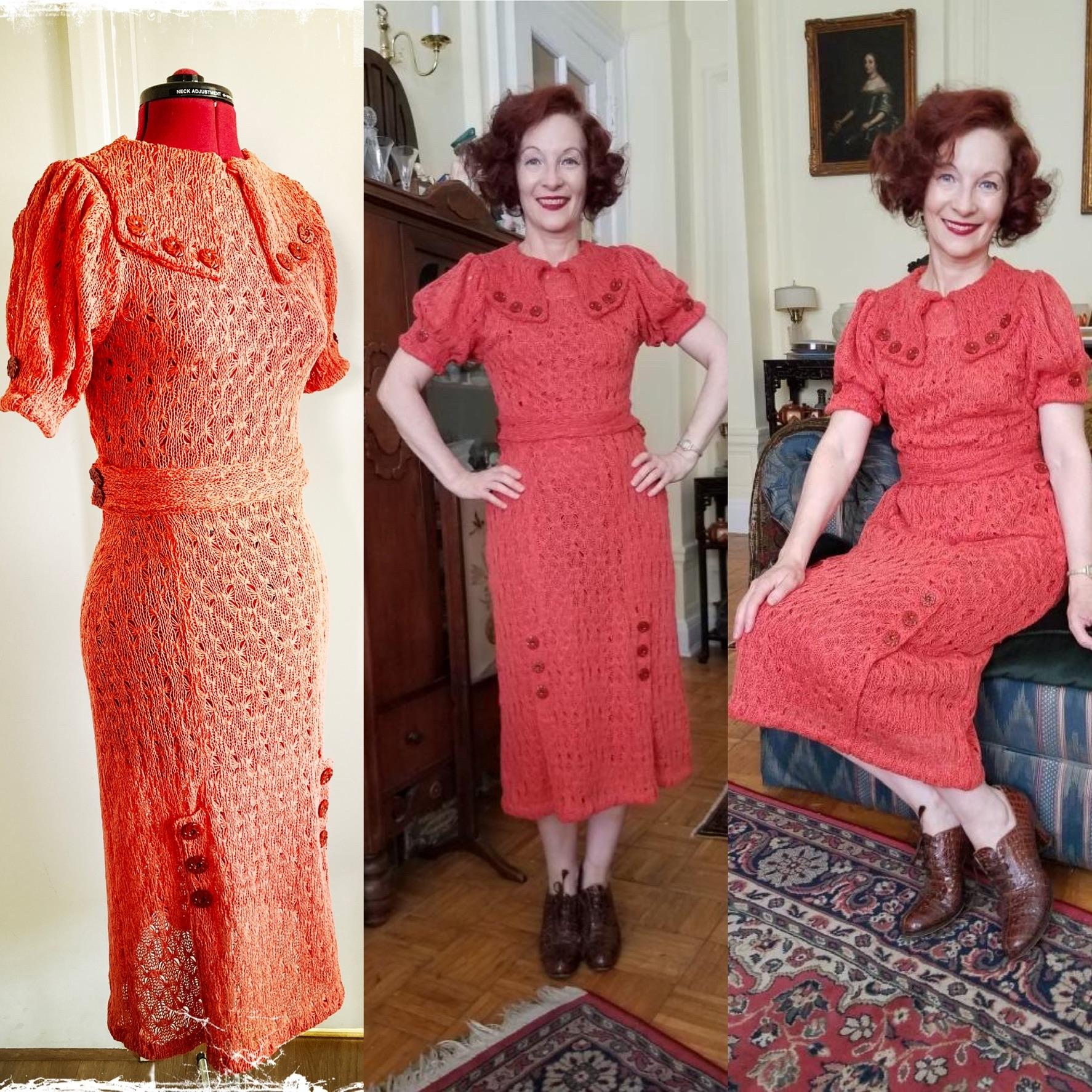 1930s style crochet knit sweater&skirt set